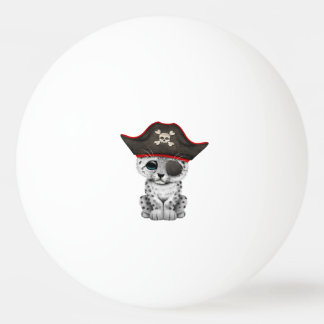 Cute Baby Snow Leopard Cub Pirate Ping Pong Ball