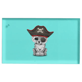 Cute Baby Snow Leopard Cub Pirate Place Card Holder