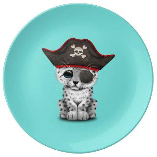 Cute Baby Snow Leopard Cub Pirate Plate