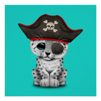 Cute Baby Snow Leopard Cub Pirate Poster