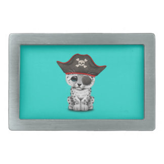 Cute Baby Snow Leopard Cub Pirate Rectangular Belt Buckle