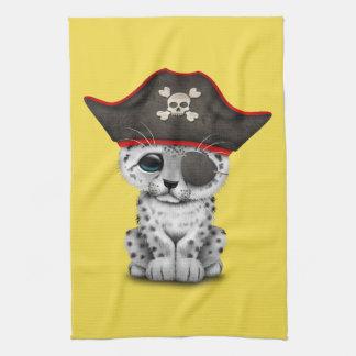 Cute Baby Snow Leopard Cub Pirate Tea Towel