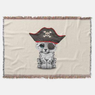 Cute Baby Snow Leopard Cub Pirate Throw Blanket