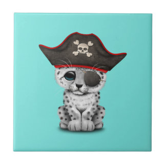 Cute Baby Snow Leopard Cub Pirate Tile