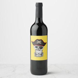 Cute Baby Snow Leopard Cub Pirate Wine Label