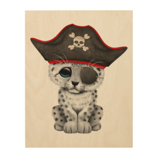 Cute Baby Snow Leopard Cub Pirate Wood Canvases