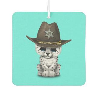 Cute Baby Snow Leopard Cub Sheriff Car Air Freshener