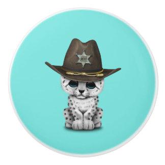 Cute Baby Snow Leopard Cub Sheriff Ceramic Knob