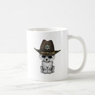 Cute Baby Snow Leopard Cub Sheriff Coffee Mug