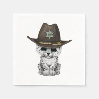 Cute Baby Snow Leopard Cub Sheriff Disposable Serviette