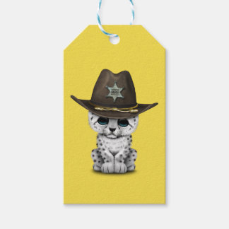 Cute Baby Snow Leopard Cub Sheriff Gift Tags