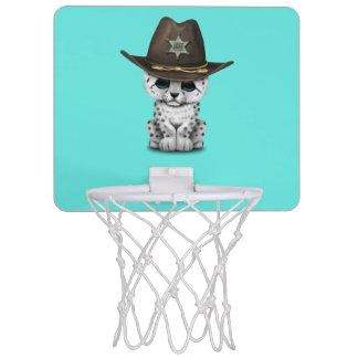 Cute Baby Snow Leopard Cub Sheriff Mini Basketball Hoop