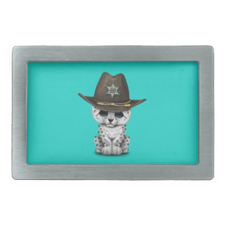 Cute Baby Snow Leopard Cub Sheriff Rectangular Belt Buckle