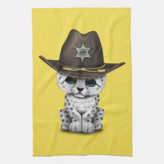 Cute Baby Snow Leopard Cub Sheriff Tea Towel