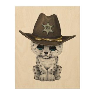Cute Baby Snow Leopard Cub Sheriff Wood Print