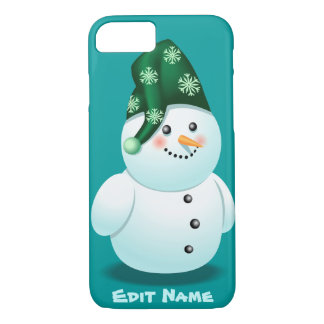 Cute Baby Snowman Cartoon With Green Hat iPhone 7 Case