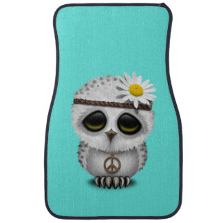 Cute Baby Snowy Owl Hippie Car Mat