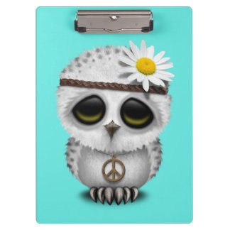 Cute Baby Snowy Owl Hippie Clipboard