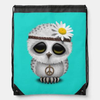 Cute Baby Snowy Owl Hippie Drawstring Bag