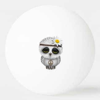Cute Baby Snowy Owl Hippie Ping Pong Ball