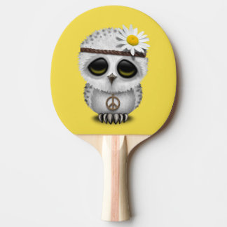 Cute Baby Snowy Owl Hippie Ping Pong Paddle