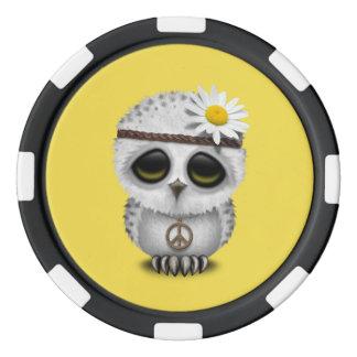 Cute Baby Snowy Owl Hippie Poker Chips