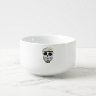 Cute Baby Snowy Owl Hippie Soup Mug