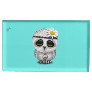 Cute Baby Snowy Owl Hippie Table Card Holder