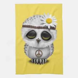 Cute Baby Snowy Owl Hippie Tea Towel