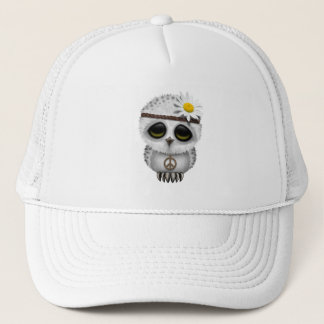 Cute Baby Snowy Owl Hippie Trucker Hat