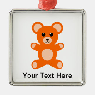 Cute Baby Teddy Bear Silver-Colored Square Decoration