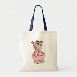 Cute Baby Teddy Bear in Pink Overalls