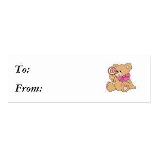 Cute Baby Teddy Bear with Lollipop Business Card Template