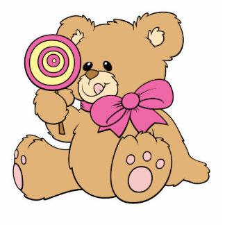 Cute Baby Teddy Bear with Lollipop Standing Photo Sculpture