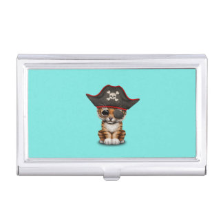 Cute Baby Tiger Cub Pirate Business Card Holder