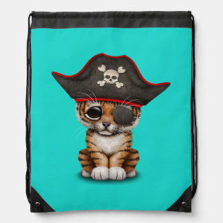 Cute Baby Tiger Cub Pirate Drawstring Bag