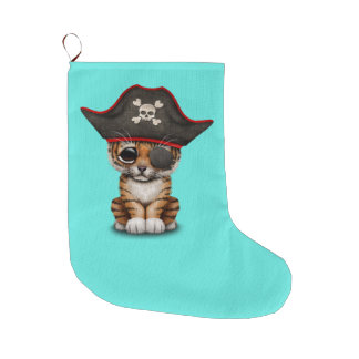 Cute Baby Tiger Cub Pirate Large Christmas Stocking