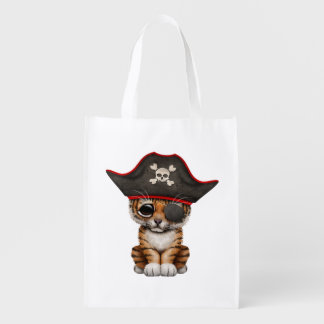 Cute Baby Tiger Cub Pirate Reusable Grocery Bag