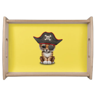 Cute Baby Tiger Cub Pirate Serving Tray