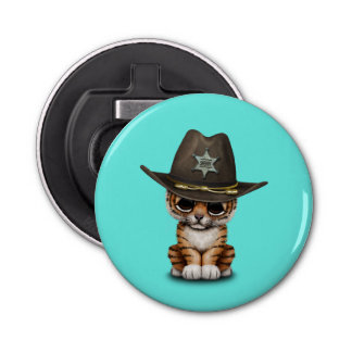 Cute Baby Tiger Cub Sheriff Bottle Opener
