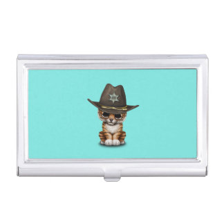 Cute Baby Tiger Cub Sheriff Business Card Holder