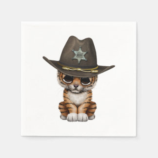 Cute Baby Tiger Cub Sheriff Disposable Napkins