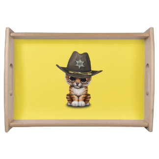 Cute Baby Tiger Cub Sheriff Serving Tray