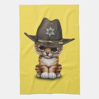 Cute Baby Tiger Cub Sheriff Tea Towel