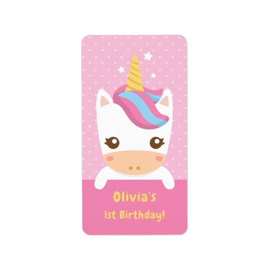 Cute Baby Unicorn First Birthday Party Labels