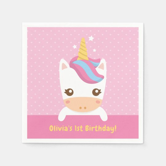 Cute Baby Unicorn First Birthday Party Napkins Paper Napkins