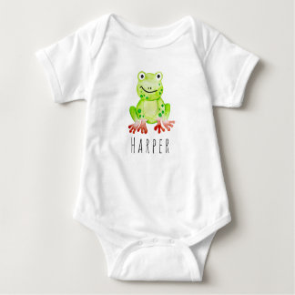 Cute Baby Unisex Watercolor Jungle Frog with Name Baby Bodysuit