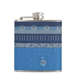 Cute baby whale fun illustration sea style flask