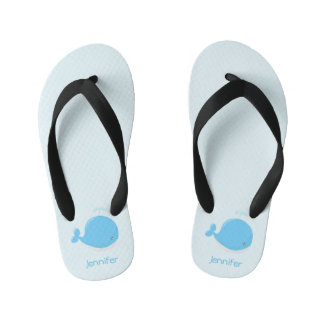 Cute baby whale kawaii cartoon name kids slippers thongs