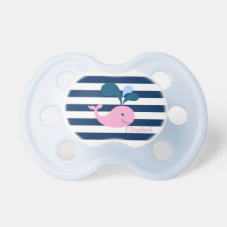Cute Baby Whale, Navy Blue Stripes-Personalized Dummy